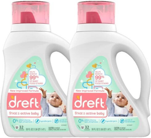 Dreft Stage 2 Active Hypoallergenic Liquid Baby Laundry Detergent for Baby
