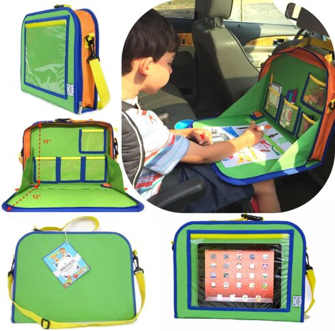Kids Backseat Travel Tray Organizer Holds Crayons Markers an iPad Kindle or Other Tablet.