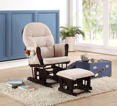 Naomi Home Brisbane Glider and Ottoman Set Espresso