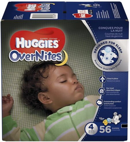 HUGGIES OverNites Diapers, Size 4 (22-37 lb), Overnight Diapers