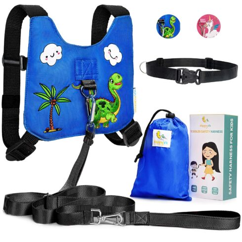 HappyVk Safety Harness for Kids-Anti Lost Walking Toddler Baby Leash-with Drawstring Storage Bag