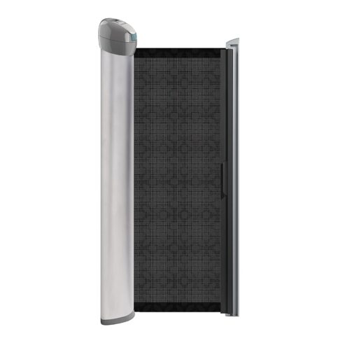 """Summer Retractable Baby Gate, Decorative Mesh Fabric, Silver Satin Finish with Charcoal Accents – 30"""" Tall Baby Gate, Fits Openings up to 50"""" Wide, Hardware Mounted Baby Gate for Doorways & Stairways"""