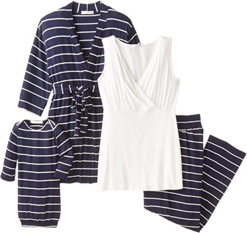 5 Piece Maternity and Nursing PJ Pant Set for Mom and Baby