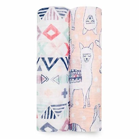 aden + anais Swaddle Blanket, Boutique Muslin Blankets for Girls & Boys, Baby Receiving Swaddles, Ideal Newborn & Infant Swaddling Set, Perfect Shower Gifts, 2 Pack, Trail Blooms