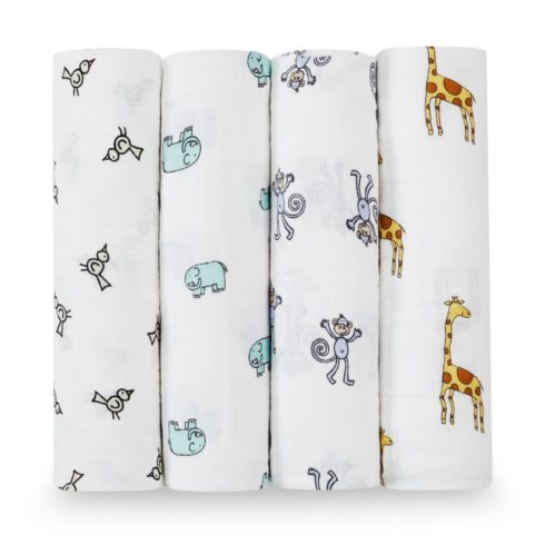 aden + anais Swaddle Blanket, Boutique Muslin Blankets for Girls & Boys, Baby Receiving Swaddles, Ideal Newborn & Infant Swaddling Set, Perfect Shower Gifts, 4 Pack, Jungle Jam