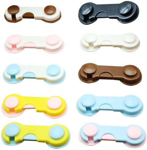 10 Pack Cabinets Locks, Child Safety Cabinet Locks Fridge Lock, Baby Proofing Safety Latches Drawers Toilet Seat Fridge, Child Proof Cabinet Locks with Strong Adhesive Tape